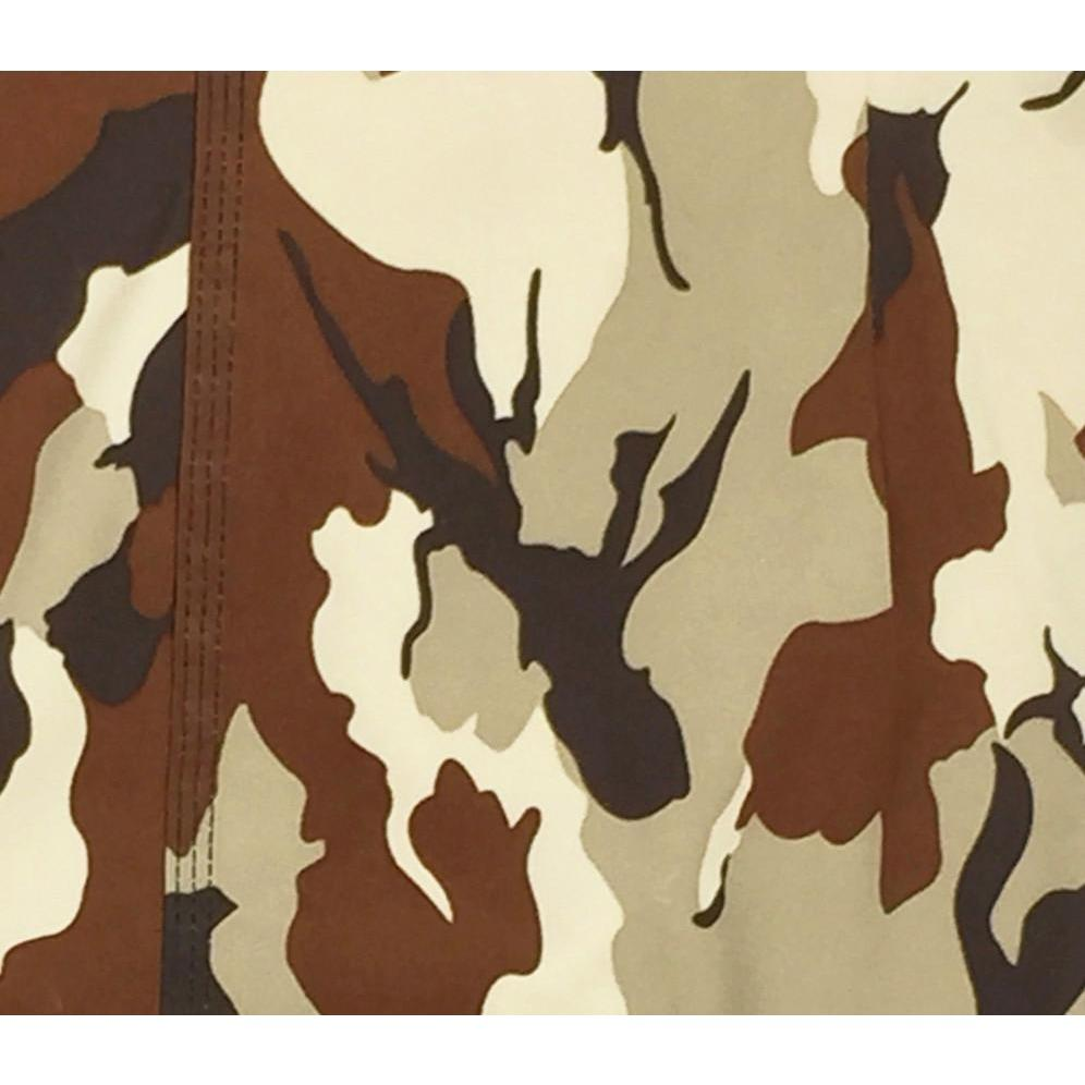 """Stealth Fanatic"" Camo Print Womens Board Shorts - Regular Rise / 7"" Inseam (Sand-Brown)"