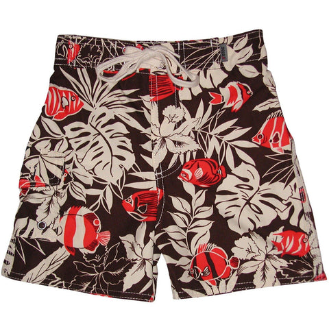 """School Life"" Tropical Fish Print Toddler Board Short (Brown or Blue) - Board Shorts World - 1"