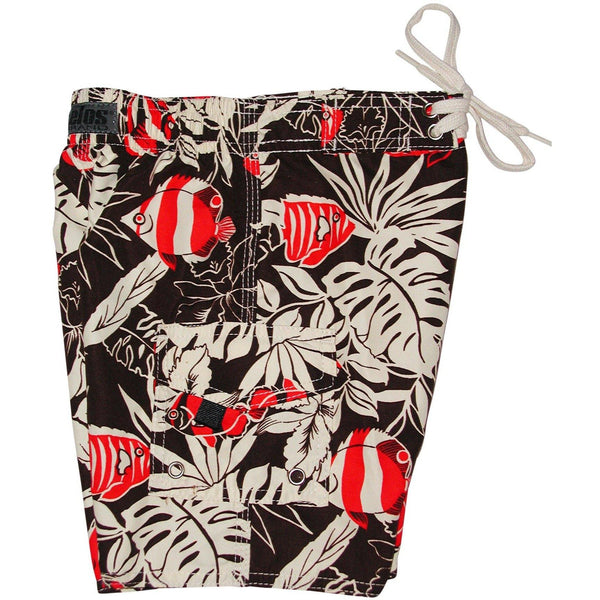 """School Life"" Tropical Fish Print Toddler Board Short (Brown or Blue) - Board Shorts World - 2"
