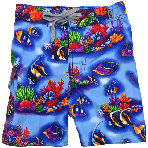 """UnderSea World"" Toddler Board Short (Blue) - Board Shorts World"