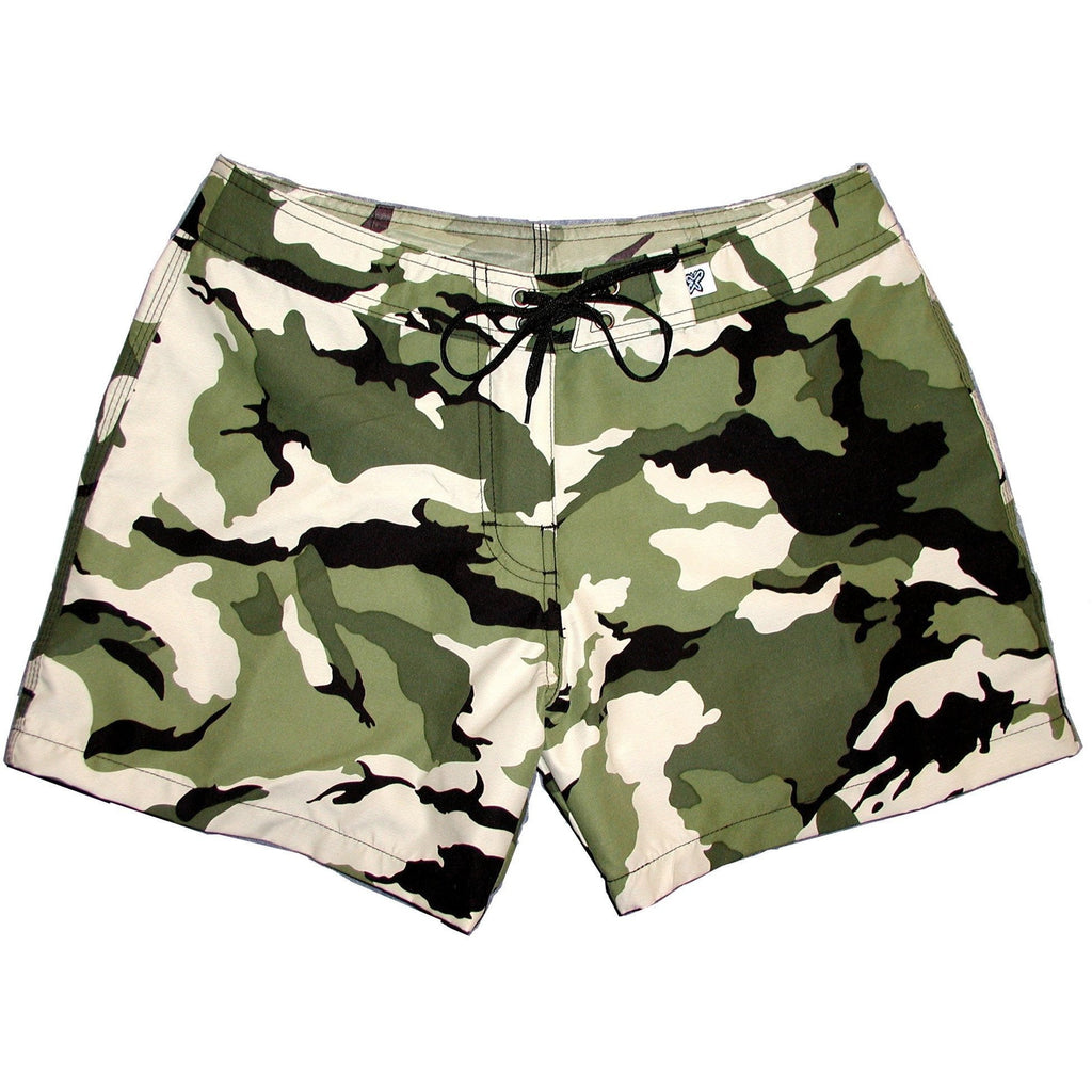 """Stealth Fanatic"" Camo Board Shorts - Regular Rise / 5"" Inseam (Moss or Sand+Brown) - Board Shorts World - 1"