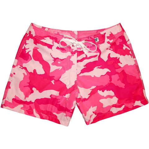 """Stealth Fanatic"" Girls Camo Board Shorts - 5"" Inseam (Pink) - Board Shorts World"