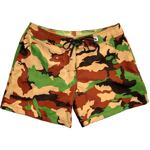 """Stealth Fanatic"" Girls Camo Board Shorts - 5"" Inseam (Traditional or Charcoal) - Board Shorts World - 1"