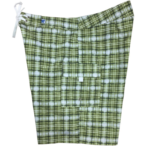 """Bankers Hours"" Womens Plaid Board Shorts - Regular Rise / 10.5"" Inseam (Olive)"