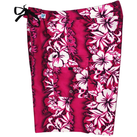 "Fixed (Non Elastic) Waist Womens Board Shorts ""Conga Line"" (Pink) * CUSTOM * - Board Shorts World"