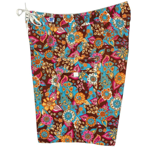 """Carnival"" Womens Board Shorts - Regular Rise / 10.5"" Inseam (Brown) - Board Shorts World"