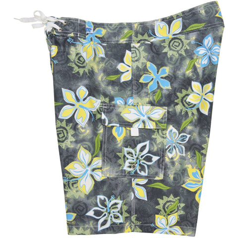 """Desert Bloom"" Girls Board (Swim) Shorts - 8.5"" Inseam (Charcoal+Yellow, or Charcoal+Blue) - Board Shorts World - 1"