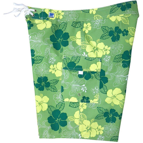 """Dew Drops"" Womens Board Shorts - Regular Rise / 10.5"" Inseam (Green) *SALE* - Board Shorts World"