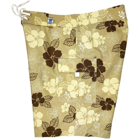 """Dew Drops"" Womens Board Shorts - Regular Rise / 10.5"" Inseam (Sand) *SALE*"