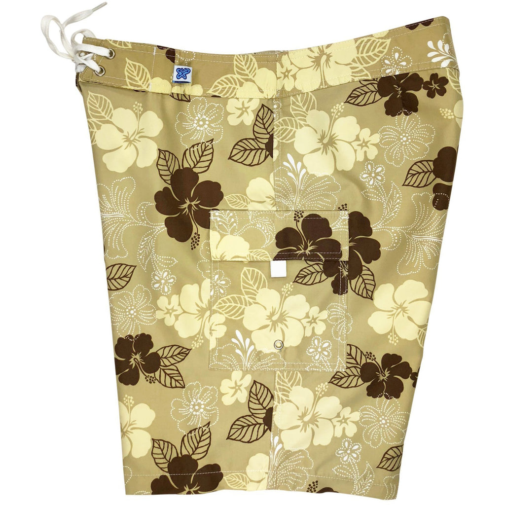 """Dew Drops"" Womens Board Shorts - Regular Rise / 10.5"" Inseam (Tan) **SALE**"