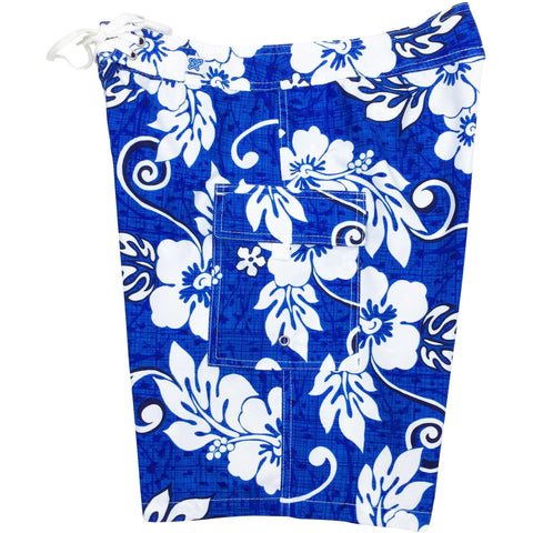"""Drop Cloth"" Womens Board Shorts - Regular Rise / 10.5"" Inseam (Blue or Red) *SALE* - Board Shorts World - 1"