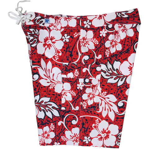 """Drop Cloth"" Womens Board Shorts - Regular Rise / 10.5"" Inseam (Red)"