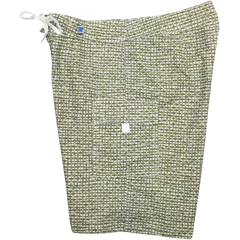 "Fixed (Non Elastic) Waist Womens Board Shorts ""Dream Weaver"" (Green) * CUSTOM *"