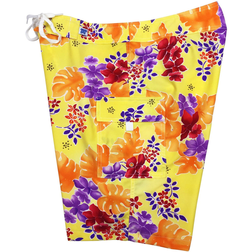 """East of Eden"" Womens Board Shorts - Regular Rise / 10.5"" Inseam (Orange or Green) - Board Shorts World - 1"