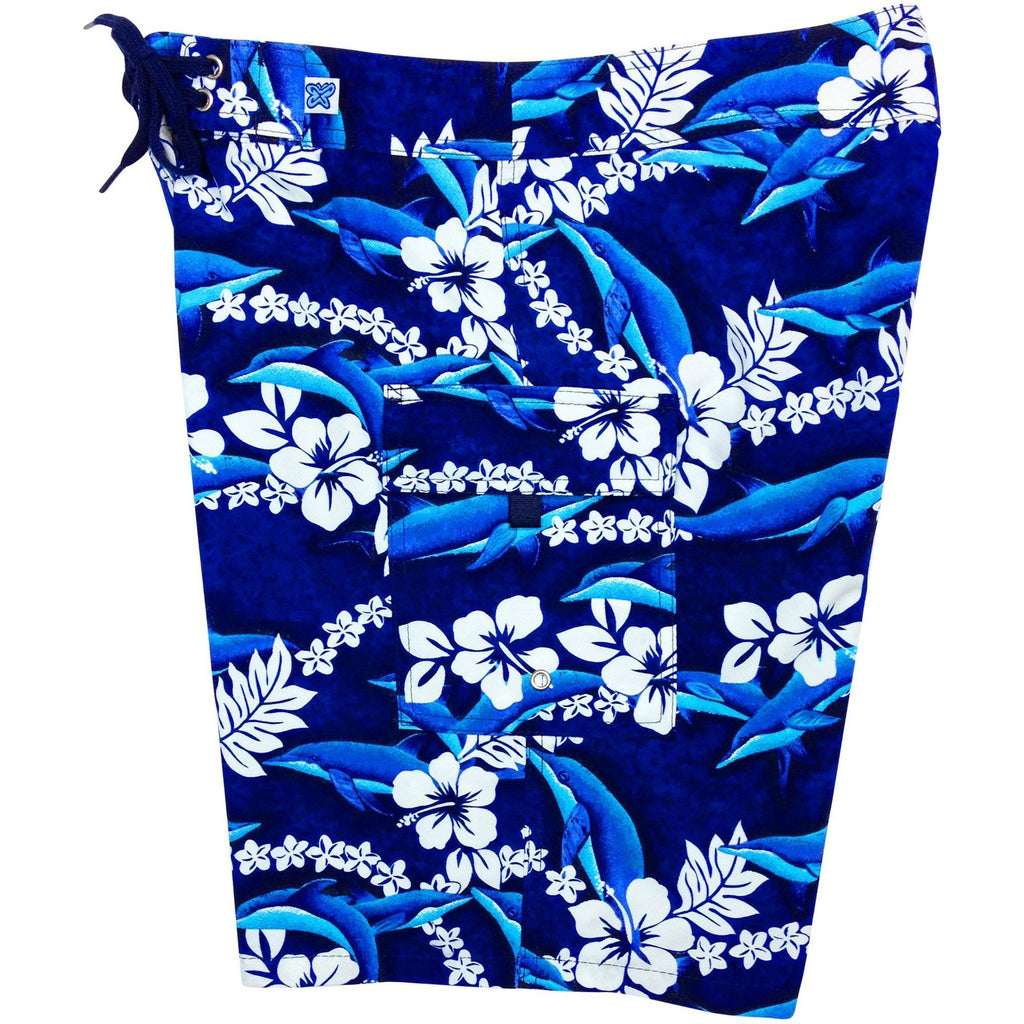 """Fins"" Womens Board Shorts - Regular Rise / 10.5"" Inseam (Blue) - Board Shorts World"