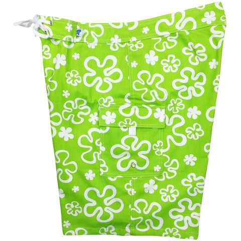 """Flower Power"" Womens 100% Cotton Canvas Board Shorts - Regular Rise / 10.5"" Inseam (Green or Blue) - Board Shorts World - 1"