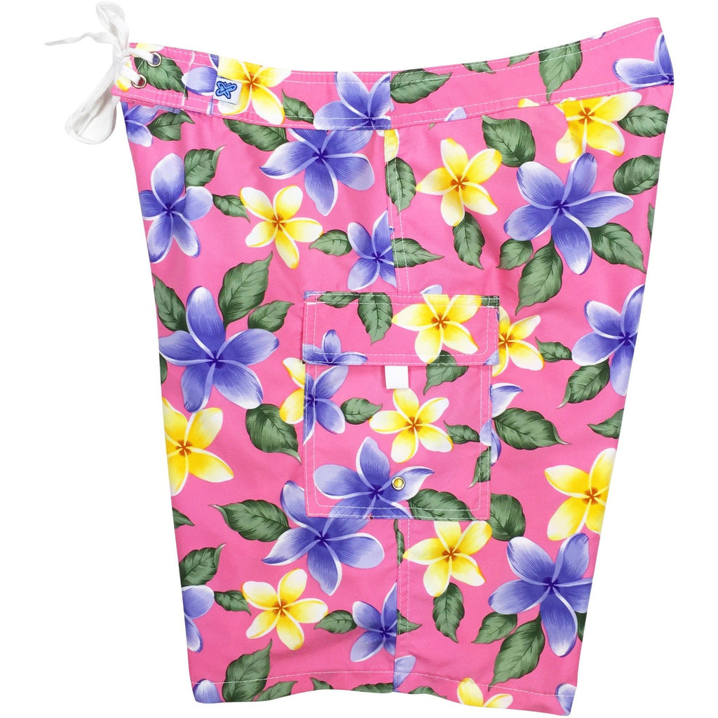 """Free Roaming"" Plumeria Print Womens Board Shorts - Regular Rise / 10.5"" Inseam (Pink or Turquoise) - Board Shorts World - 1"