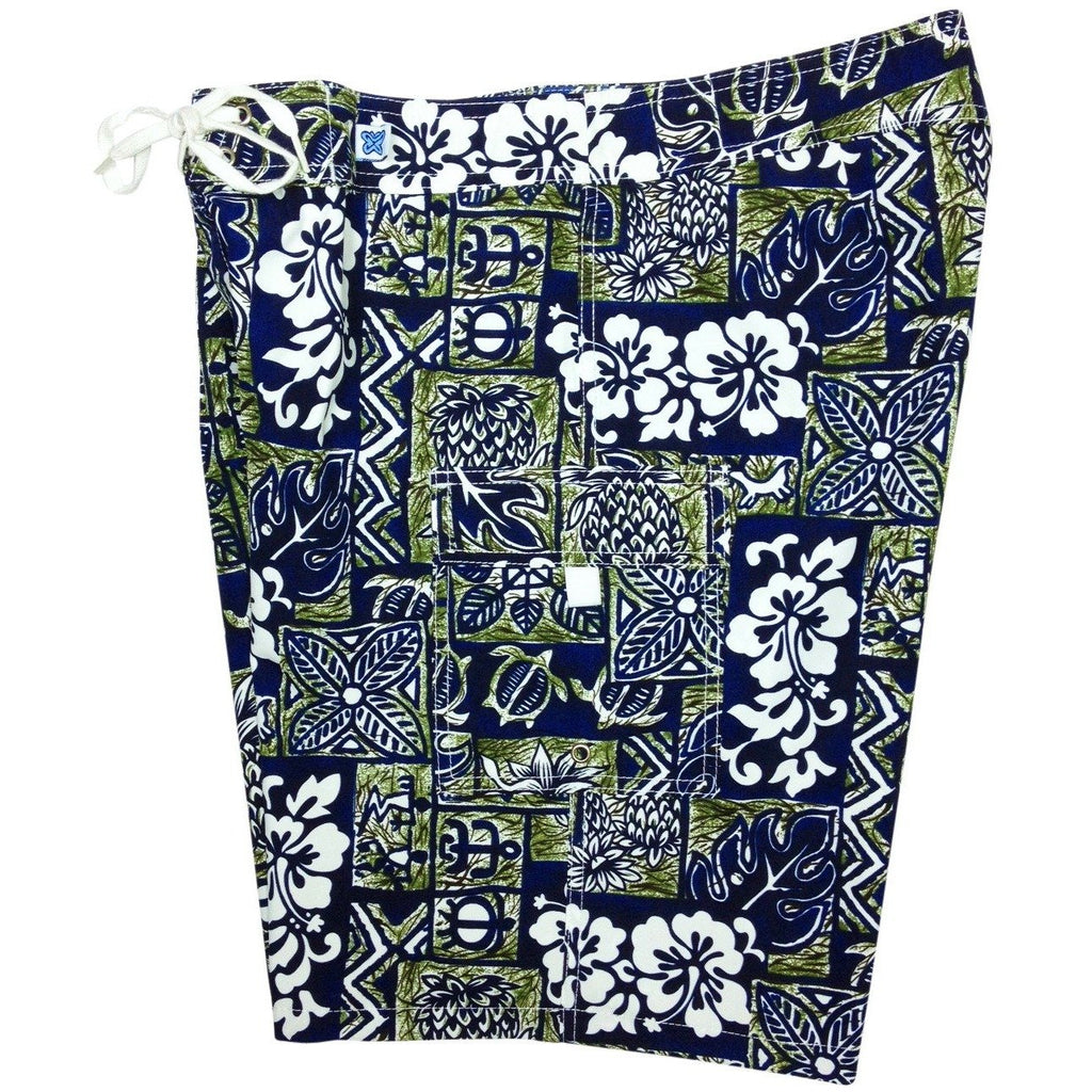 """Hieroglyphics"" Womens Board Shorts - Regular Rise / 10.5"" Inseam (Navy / Sage) - Board Shorts World"