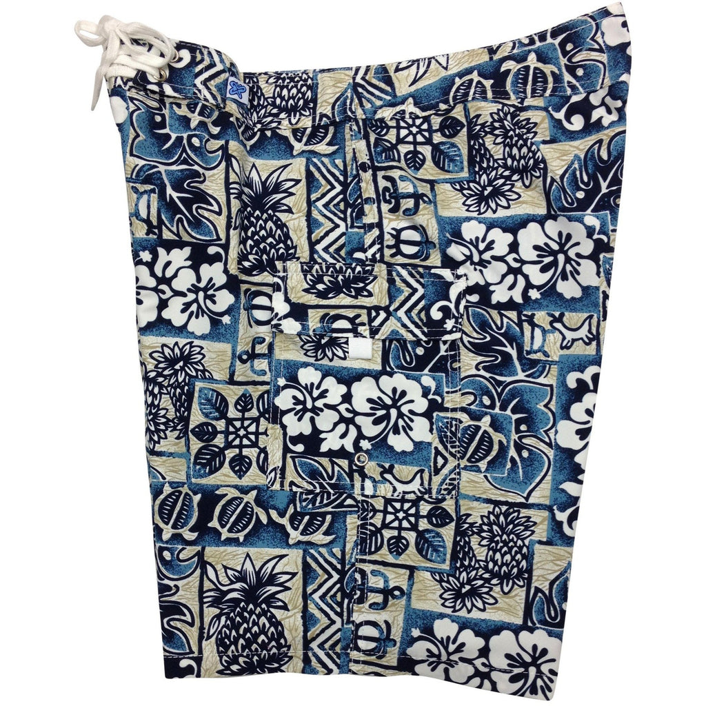 """Hieroglyphics"" Womens Board Shorts - Regular Rise / 10.5"" Inseam (Sand+Sea) - Board Shorts World"