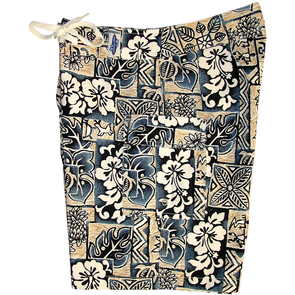 """Hieroglyphics"" Girls Board (Swim) Shorts - 8.5"" Inseam (Sand+Sea or Navy+Sage) - Board Shorts World - 1"