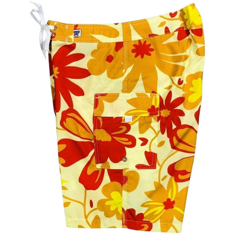 """Happy Camper"" Womens Board Shorts - Regular Rise / 10.5"" Inseam"