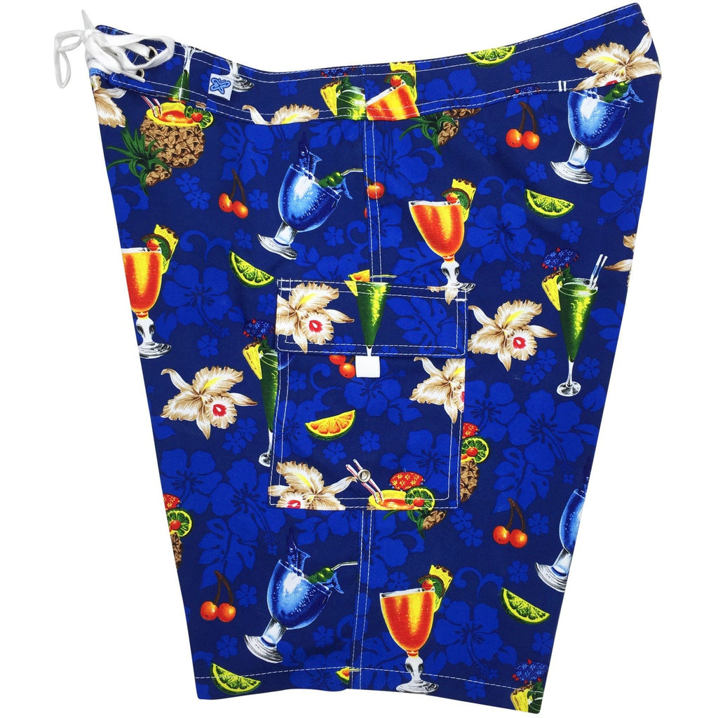 """Hurry Sundown"" Cocktails Print Womens Board Shorts - Regular Rise / 10.5"" Inseam (Blue) - Board Shorts World - 1"
