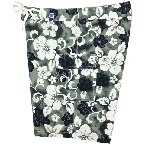 """Jungle Boogie"" Girls Board (Swim) Shorts - 8.5"" Inseam (Charcoal) - Board Shorts World"