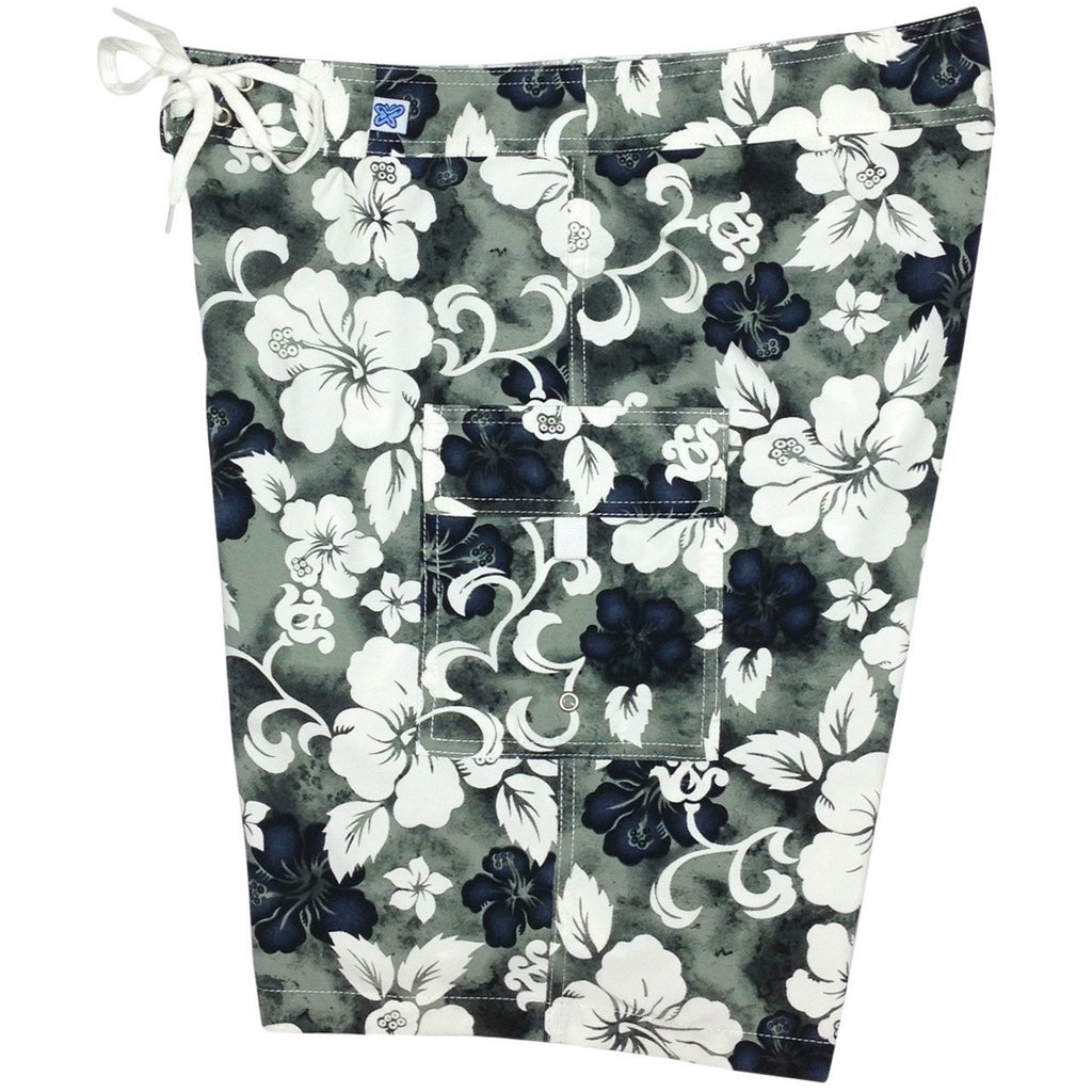 """Jungle Boogie"" Womens Board Shorts - Regular Rise / 10.5"" Inseam (Charcoal or Olive) - Board Shorts World - 1"