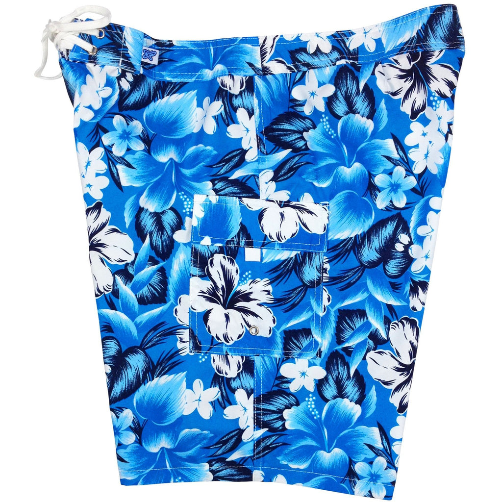 """Jungle Juice"" Womens Board Shorts - Regular Rise / 10.5"" Inseam (Sky Blue, Royal, or Navy) - Board Shorts World - 1"