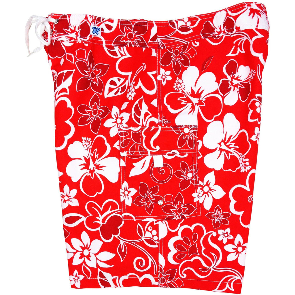 """Lava Flow"" Womens Board Shorts - Regular Rise / 10.5"" Inseam (Red) - Board Shorts World"