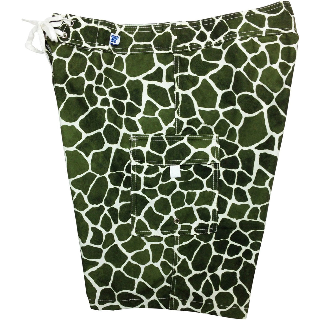 """Long Neck"" Giraffe Print Womens Board Shorts - Regular Rise / 10.5"" Inseam (Olive, Chocolate, or Black) - Board Shorts World - 1"