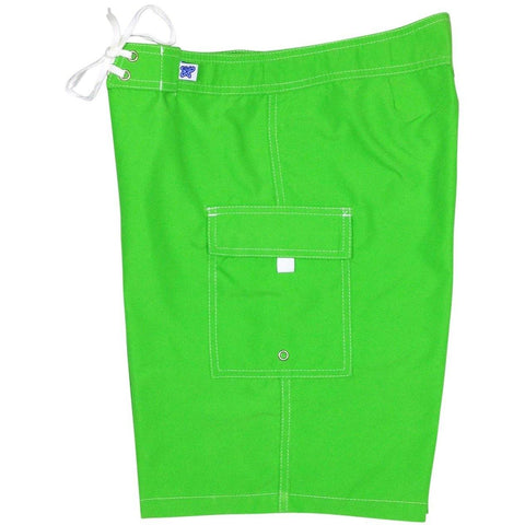 """A Solid Color"" Women's Board Shorts - Regular Rise / 10.5"" Inseam (Apple)"