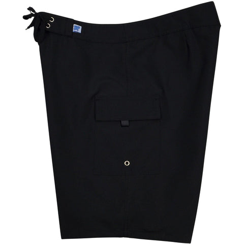 """A Solid Color"" Women's Board Shorts - Regular Rise / 10.5"" Inseam (Black + Black Stitching) - Board Shorts World"