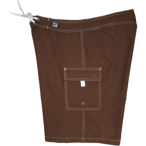 """A Solid Color"" PLUS SIZE Women's Board Shorts - Regular Rise / 10.5"" Inseam (Cinnamon) **SALE**"