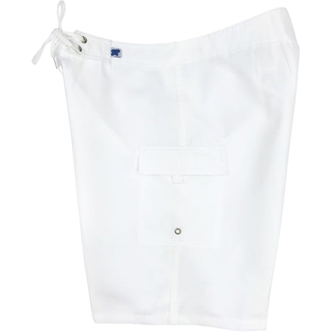 """A Solid Color"" Women's Board Shorts - Regular Rise / 10.5"" Inseam (White)"