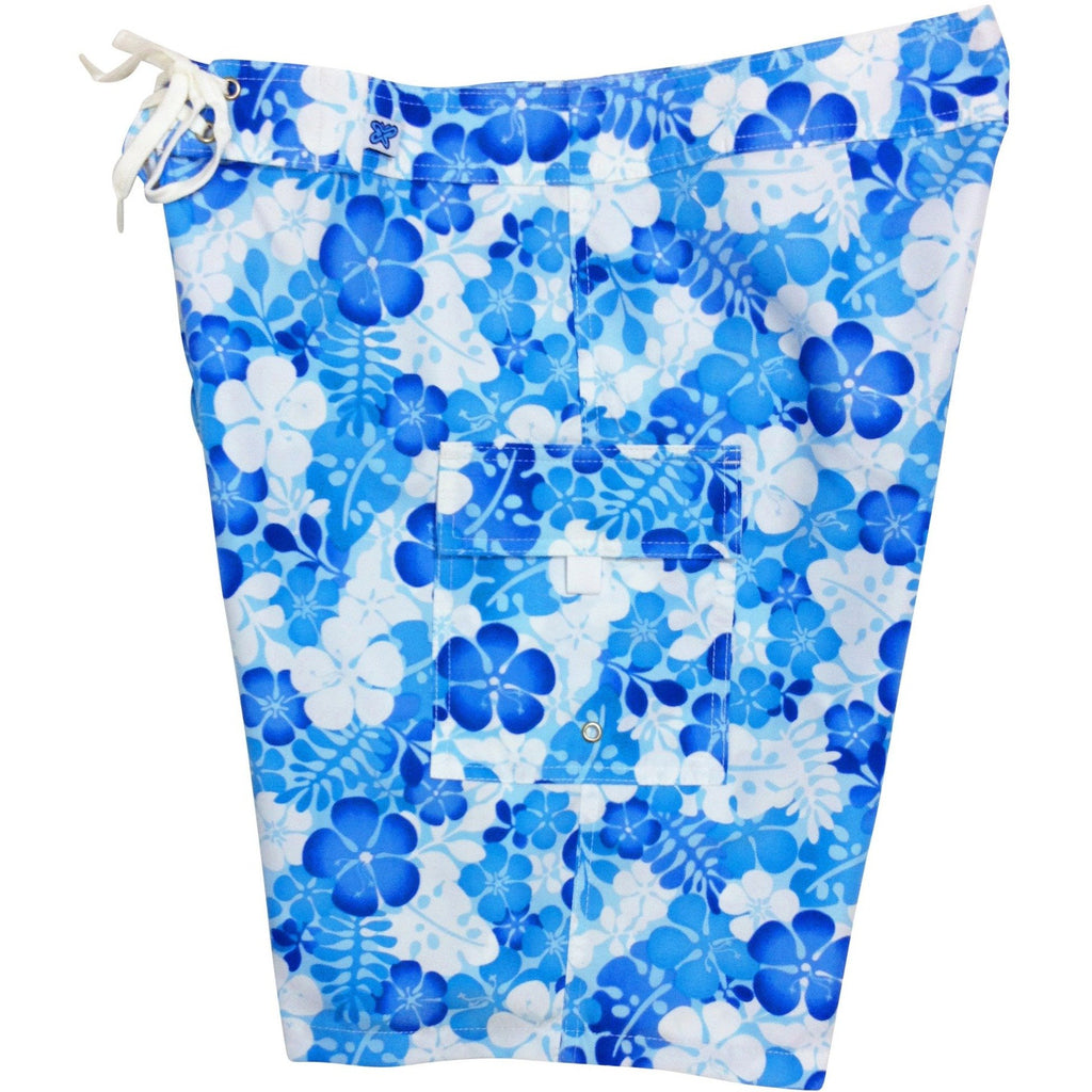"""Me Time"" Womens Board Shorts - Regular Rise / 10.5"" Inseam (Blue or Pink) - Board Shorts World - 1"