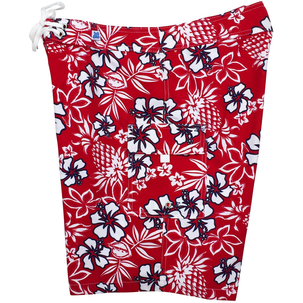 """North Shore"" Womens Board Shorts - Regular Rise / 10.5"" Inseam (Red, Black or Indigo) - Board Shorts World - 1"