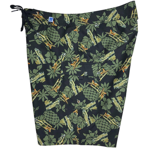 """One for the Road"" Woodie Cars Womens Board Shorts - Regular Rise / 10.5"" Inseam (Olive) - Board Shorts World"