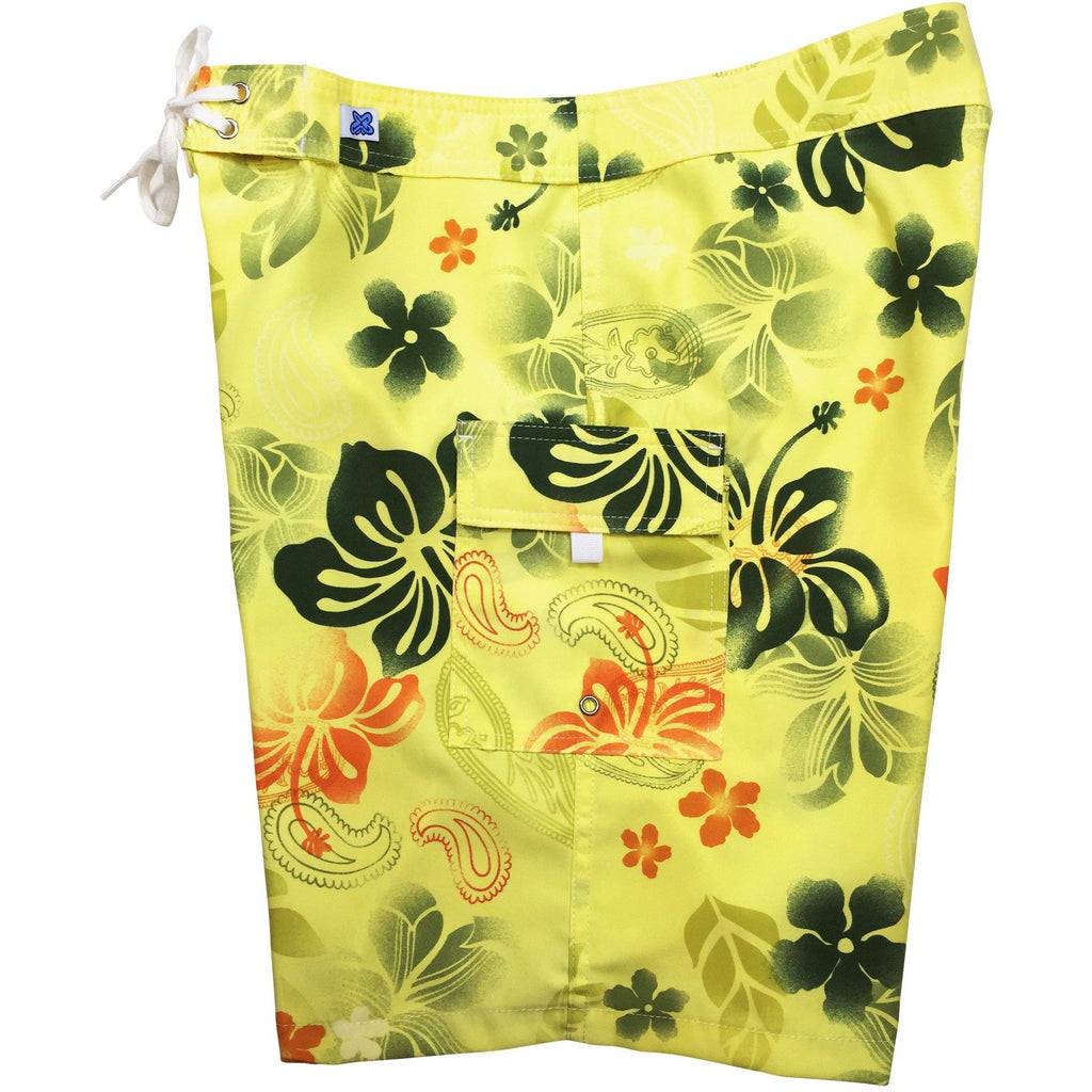 """Overspray"" Womens Board Shorts - Regular Rise / 10.5"" Inseam (Yellow or Blue) - Board Shorts World - 1"