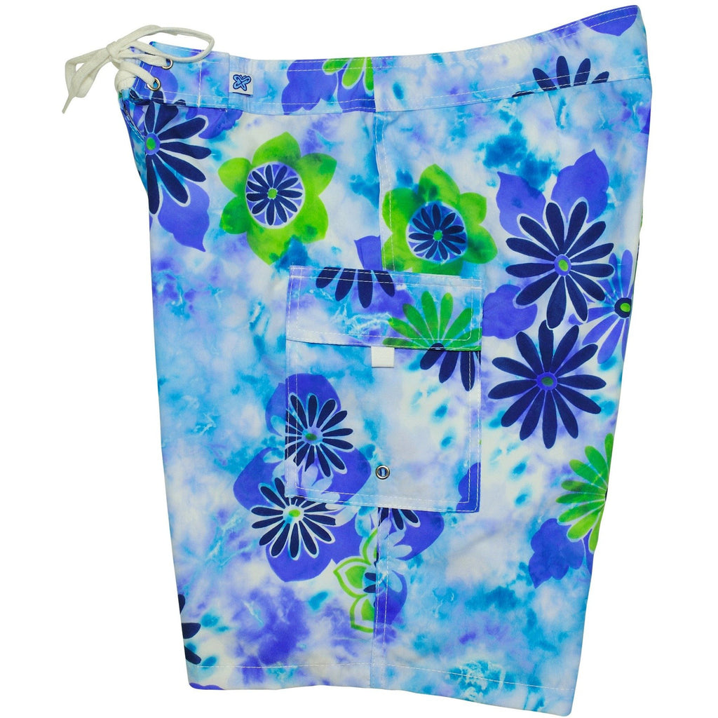 "Fixed (Non Elastic) Waist Womens Board Shorts ""Painted Desert"" (Indigo+Grape)  * CUSTOM *"