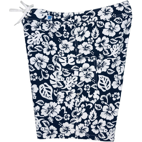 "**NEW** ""Pure Hibiscus Too"" Womens Board Shorts - Regular Rise / 10.5"" Inseam (Black) *"