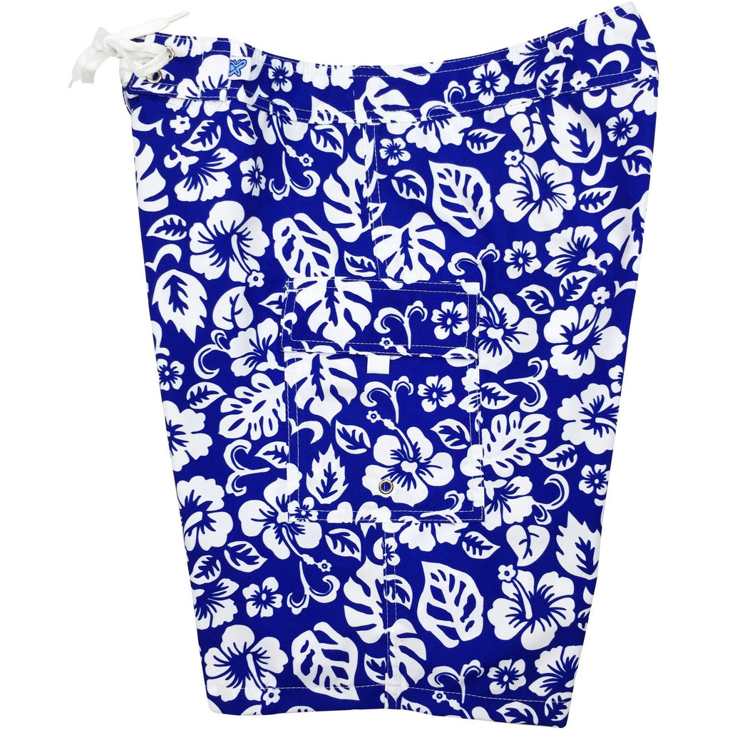 """Pure Hibiscus Too"" Womens Board Shorts - Regular Rise / 10.5"" Inseam (Royal, Red, or Black+White) **SALE** - Board Shorts World - 1"