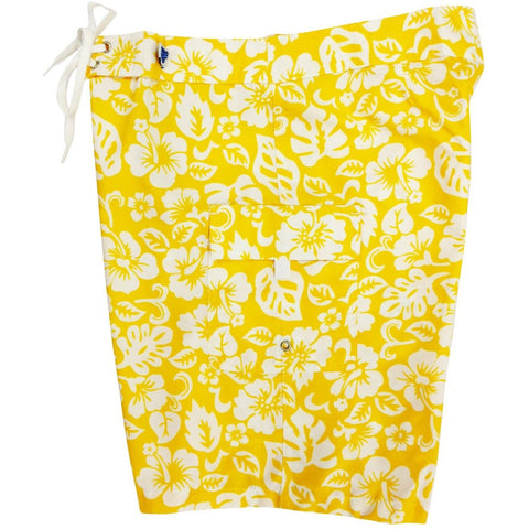 """Pure Hibiscus Too"" Womens Board Shorts - Regular Rise / 10.5"" Inseam (Yellow, Green, or Orange) **SALE** - Board Shorts World - 1"