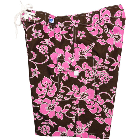 """Pure Hibiscus"" Girls Board (Swim) Shorts - 8.5"" Inseam (Brown+Blue or Brown+Pink) - Board Shorts World - 1"