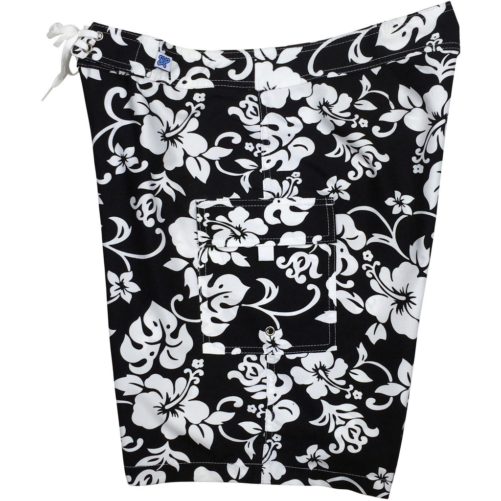 """Pure Hibiscus"" Womens Board Shorts - Regular Rise / 10.5"" Inseam (Black/White) *SALE* - Board Shorts World"