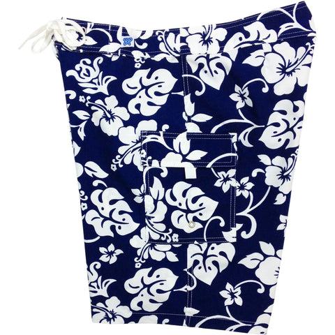 """Pure Hibiscus""  Womens Board Shorts - Regular Rise / 10.5"" Inseam (Navy or Purple) *SALE* - Board Shorts World - 1"