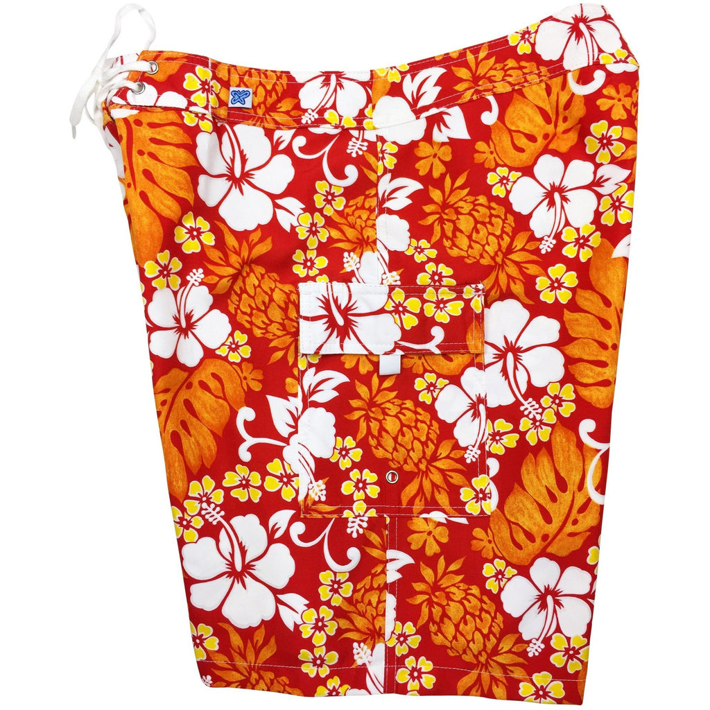 """Pina Colada"" Womens Board Shorts - Regular Rise / 10.5"" Inseam (Fire) - Board Shorts World"