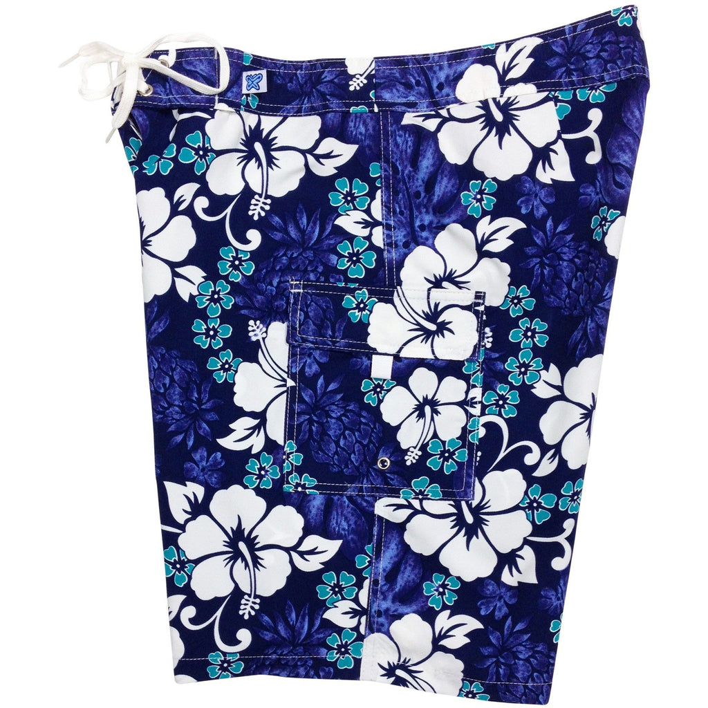 """Pina Colada"" Womens Board Shorts - Regular Rise / 10.5"" Inseam (Indigo or Blue+Yellow) - Board Shorts World - 1"