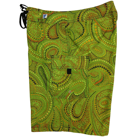 """Paisley Park"" Womens Board Shorts - Regular Rise / 10.5"" Inseam (Olive) - Board Shorts World"