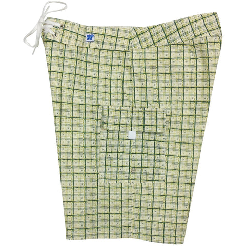 """Jetson Plaid"" 100% Cotton Dobby Womens Board Shorts - Regular Rise / 10.5"" Inseam (Green)  **SALE** - Board Shorts World"